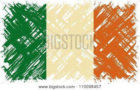 Irish grunge flag. Vector illustration.