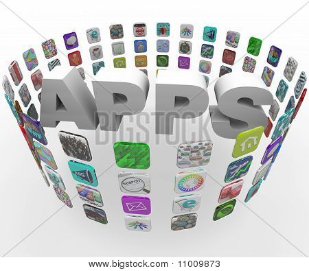 Aplicaciones - palabra en un patrón Circular de botones de azulejo