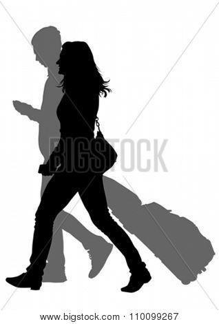 Crowds of people whit travel suitcases on white background