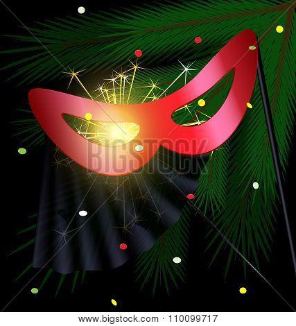 festive red half mask