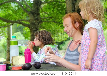 Mother Daughter Family Picnic Outdoor Park