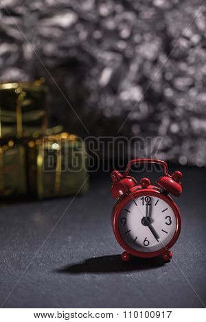 Alarm Clock 5 O'clock, Christmas Decoration Background