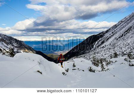 Trekking In A High Winter Mountain.