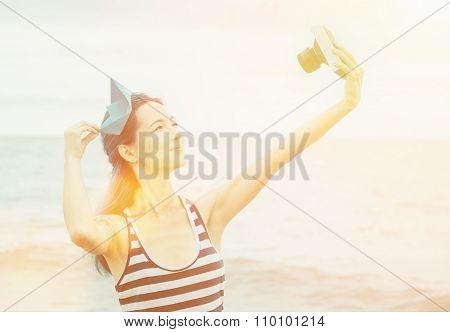 Sailor Girl Doing Self-portrait