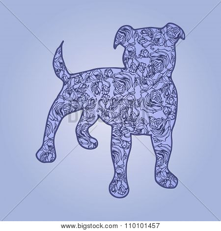 Illustration. Dog With Flowers On A Blue Background. Sketch.