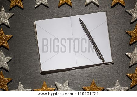 Notepad With Pen On Slate Background, Christmas Frame