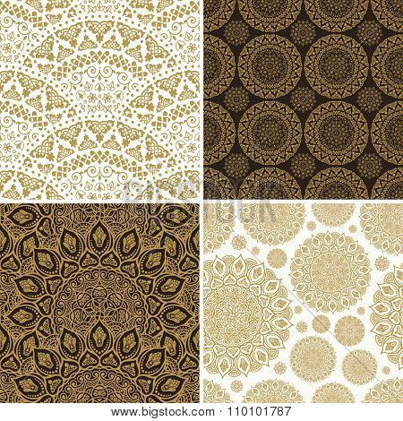 Seamless vintage floral background. Vector royal gold and black pattern. Oriental design and baroque wallpaper set
