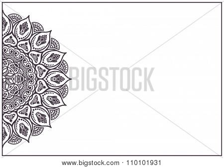 Business card abstract pattern - mandala. Vintage decorative elements. Hand drawn background. Islam, Arabic, Indian, ottoman motifs. Black and white