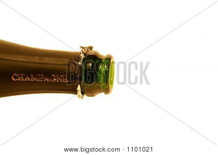 Isolated Bottle Of Champagne