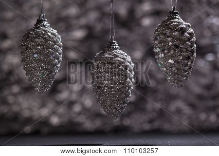 Silver Pine Cone Ornaments With Bokeh
