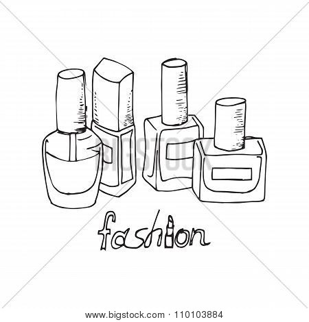 Illustration Of Cosmetics. Nail Polishes. Outline Drawing.