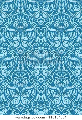 Blue floral Damask seamless pattern