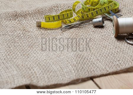Needlework Tools On Jute Cloth