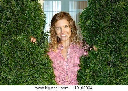 Beautiful girl standing in the yard