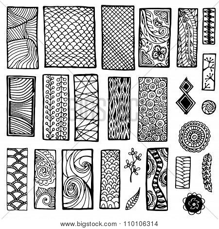 Collection of geometric floral doodle pattern. Tribal zentangle backgrounds. Template frame design f