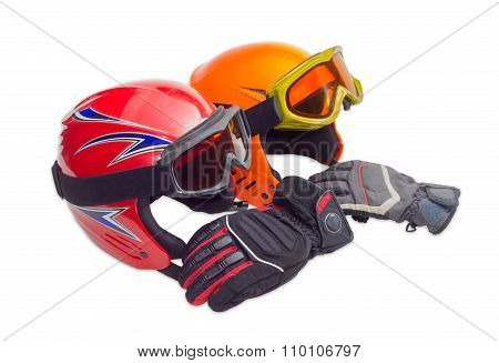 Two Protective Ski Helmet, Ski Goggles And Ski Glove