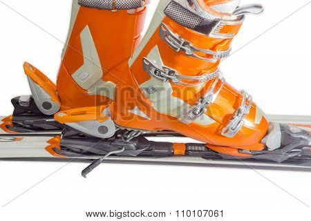 Alpine Ski Boots In Ski Binding Closeup