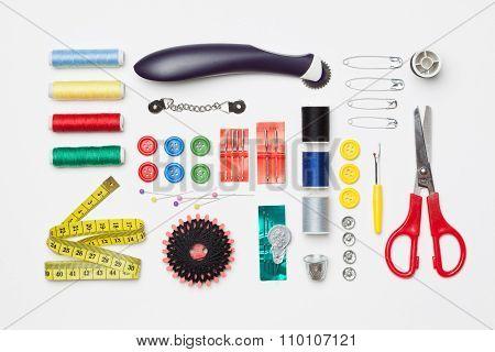 Set Of Needlework Tools Isolated On White Background