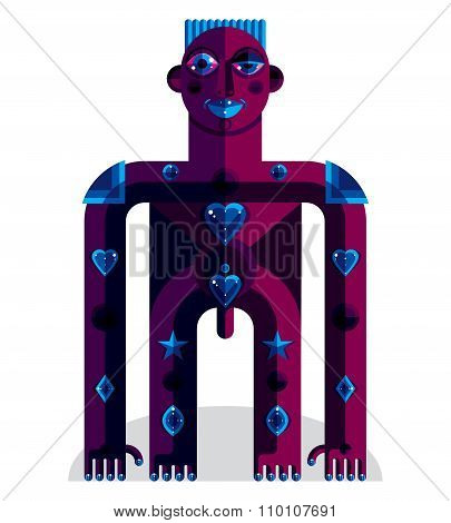 Pagan Symbol Vector Illustration, Spiritual Cult Theme. Modernistic Drawing Of A Weird Character. Fl