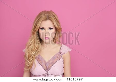Fashion Romantic Blonde Over Pink  Doll Style