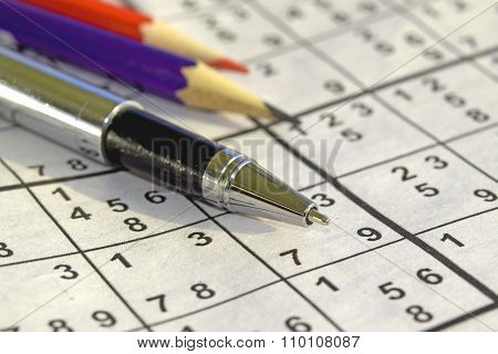 Sudoku game and a ball pen