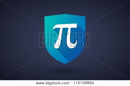 Long Shadow Shield Icon With The Number Pi Symbol