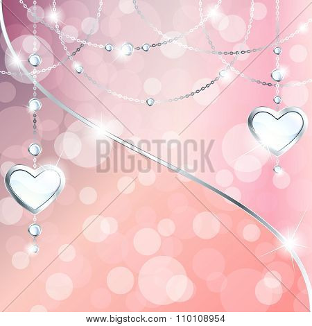 Sparkly peach pink banner with heart-shaped pendants