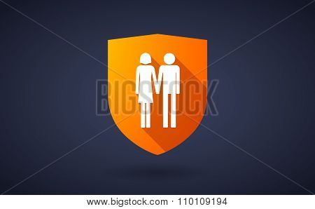 Long Shadow Shield Icon With A Heterosexual Couple Pictogram