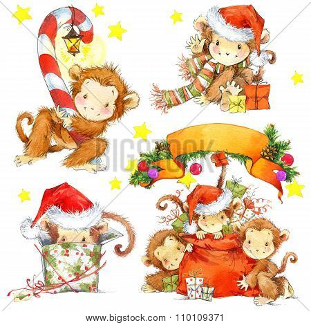 Year of the Monkey set. Watercolor monkey and New Year decoration elements