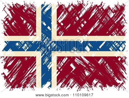 Norwegian grunge flag. Vector illustration.