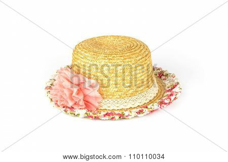 Pretty Straw Hat With Flower Isolated On White
