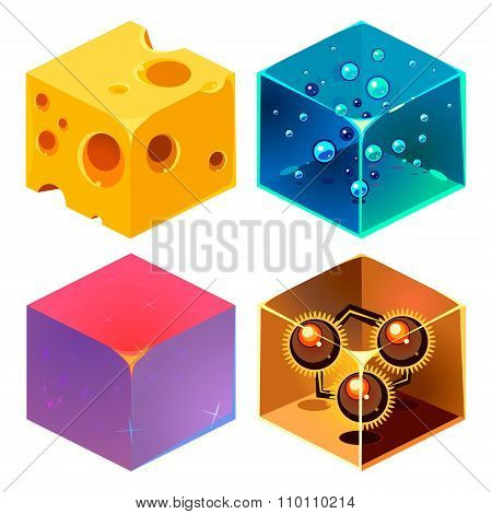Textures for Platformers Icons 3d Vector Set