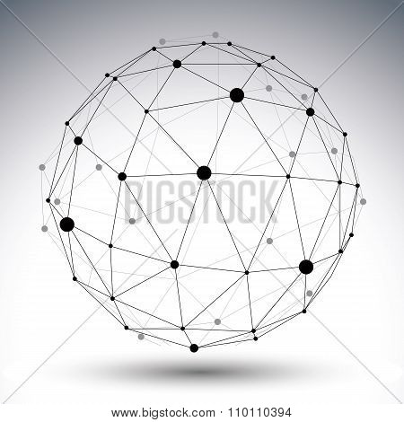 Abstract Deformed Vector Black And White Figure, Chaotic Symmetric Lined Object Isolated On White Ba