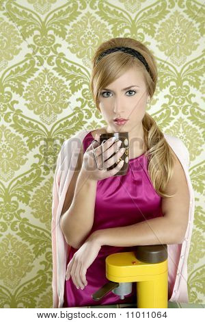 Coffee Retro Woman Vintage Cup Kitchen