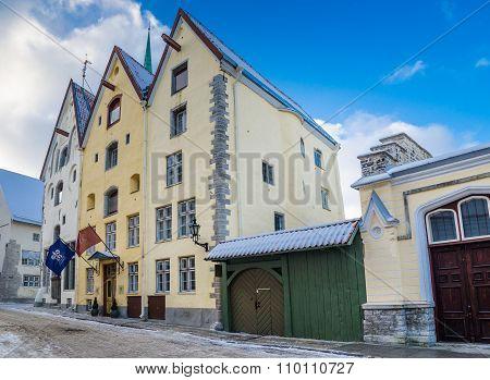 Ancient Building Three Sisters In Tallinn, Estonia