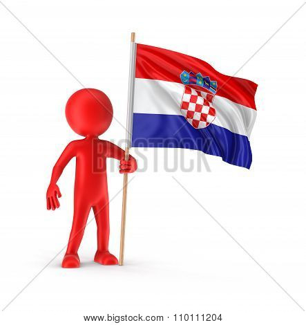 Man and Croatian flag (clipping path included)