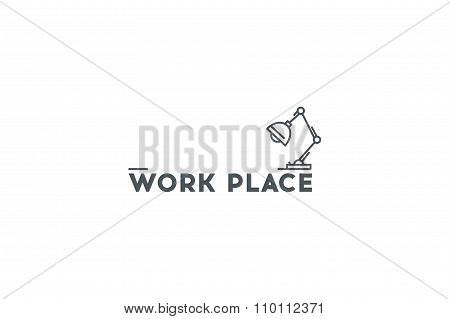 Logo- Work Place. Lamp Icon. Line Art. Stock Vector.