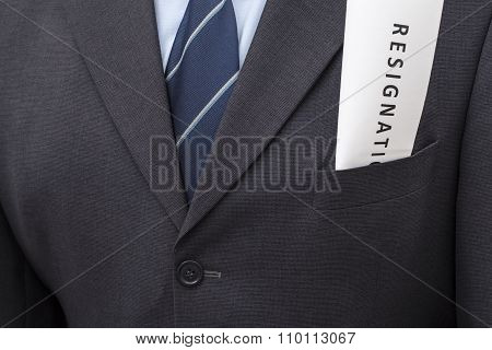 Letter Of Resignation In A Suit's Pocket