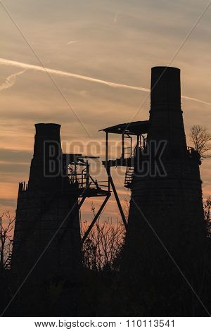 Old Furnace At Sunset