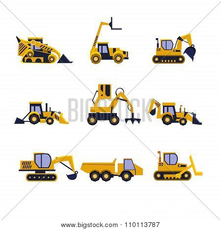 Construction Equipment Road Roller, Excavator, Bulldozer and Tractor. Car Flat Icon Set