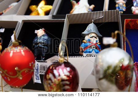 MOSCOW, RUSSIA - NOVEMBER 27, 2015: Christmas gifts in the GUM. The traditional Christmas fair this year is inspired by memories about 1960s