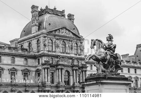 Statue Of Louis Xiv In Louvre Museum Paris