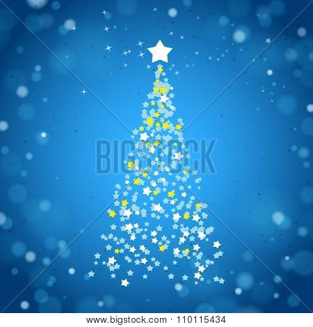Abstract Christmas Tree Created by Stars on a Blue Brilliant Background