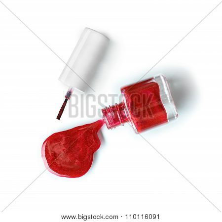 Spilled Red Nail Polish On Isolated White Background