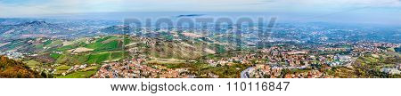 Panorama Of San Marino And Italy From Monte Titano