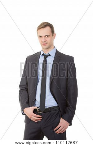 body language. man in business suit isolated white background. gestures of arms and hands. sexual ag