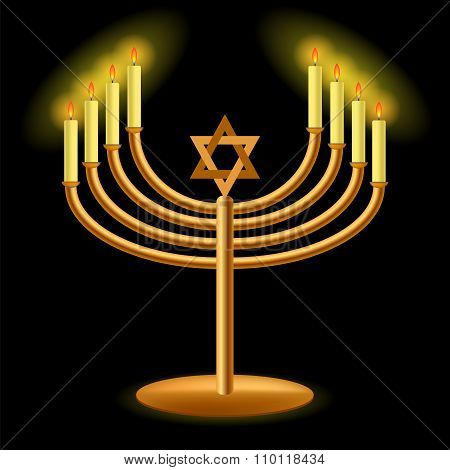 Gold Menorah with Burning Candles
