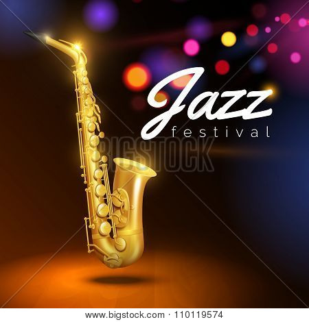 Saxophone On Black Background