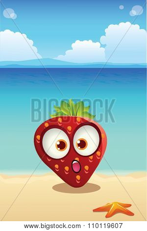 Strawberry On The Beach With Ocean Background