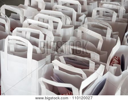 White Paperbags In Rows